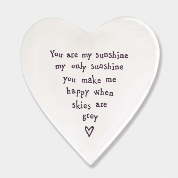 East of India Porcelain 'You are my Sunshine..' Heart Coaster