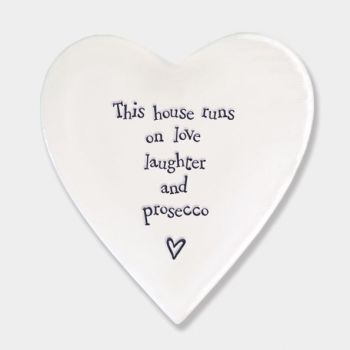 East of India Porcelain 'This House runs..' Heart Coaster