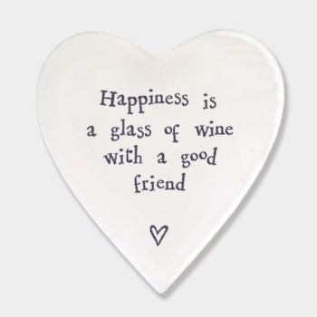 East of India Porcelain 'Happiness is..' Heart Coaster