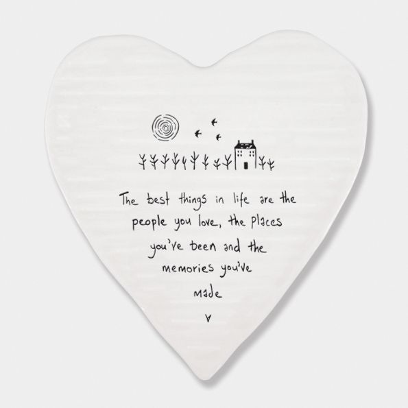 East of India Porcelain 'The Best Things...' Heart Coaster