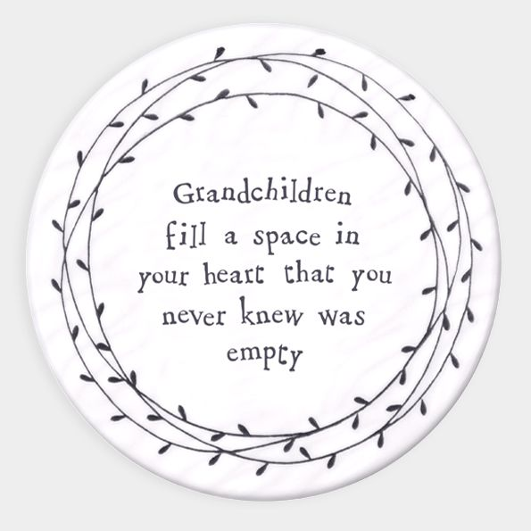 East of India Porcelain 'Grandchildren Fill a Space..' Round Coaster