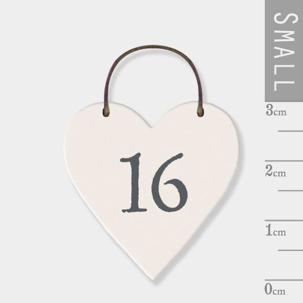 East of India Mini Wooden Heart Tag - 16