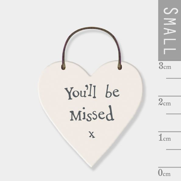 East of India Mini Wooden Heart Tag - You'll Be Missed