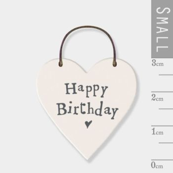 East of India Mini Wooden Heart Tag - Happy Birthday