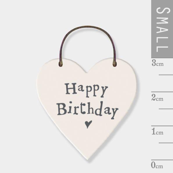 East of India Mini Wooden Heart Tag - Happy Birthday