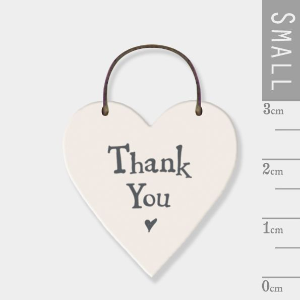 East of India Mini Wooden Heart Tag - Thank You