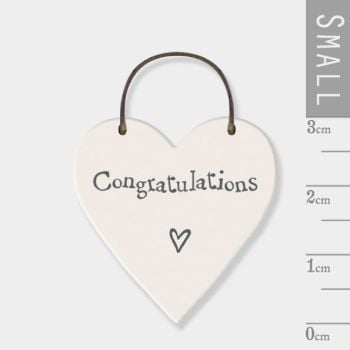 East of India Mini Wooden Heart Tag - Congratulations