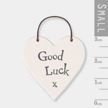 East of India Mini Wooden Heart Tag - Good Luck