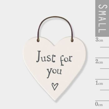 East of India Mini Wooden Heart Tag - Just For You