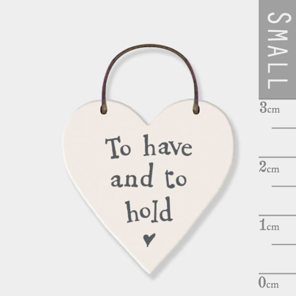 East of India Mini Wooden Heart Tag - To Have and To Hold