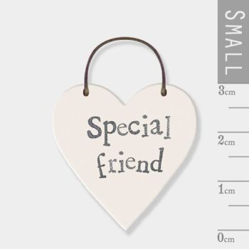 East of India Mini Wooden Heart Tag - Special Friend