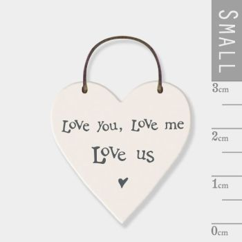 East of India Mini Wooden Heart Tag - Love You, Love Me, Love Us