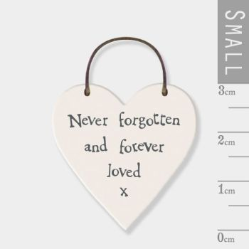 East of India Mini Wooden Heart Tag - Never Forgotten and Forever Loved