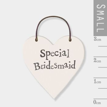East of India Mini Wooden Heart Tag - Special Bridesmaid