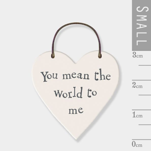 East of India Mini Wooden Heart Tag - You Mean The World To Me