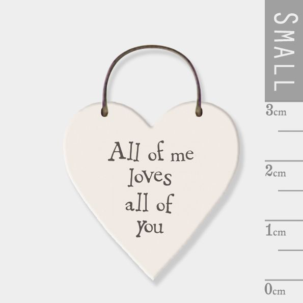 East of India Mini Wooden Heart Tag - All of Me, Loves all of You