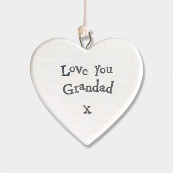 East of India Small Porcelain Heart Hanger - Love You Grandad