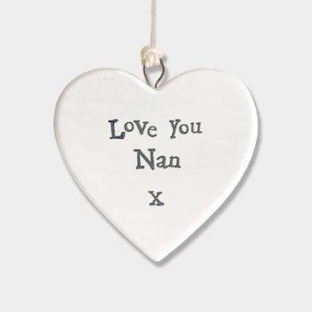 East of India Small Porcelain Heart Hanger - Love You Nan