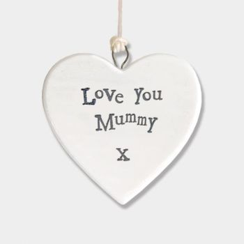 East of India Small Porcelain Heart Hanger - Love You Mummy