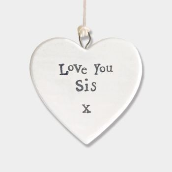 East of India Small Porcelain Heart Hanger - Love You Sis