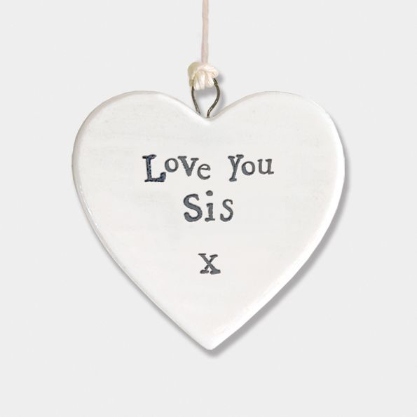 East of India Small Porcelain Heart Hanger - Love You Sister