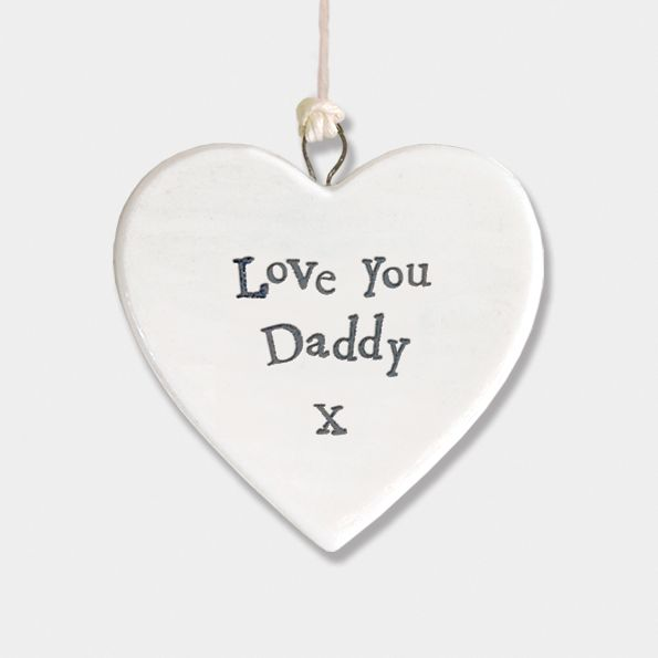 East of India Small Porcelain Heart Hanger - Love You Daddy