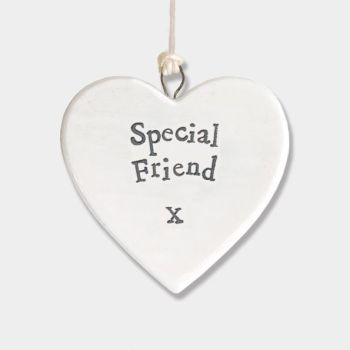 East of India Small Porcelain Heart Hanger - Special Friend