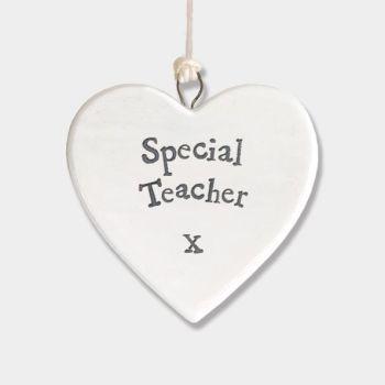 East of India Small Porcelain Heart Hanger - Special Teacher
