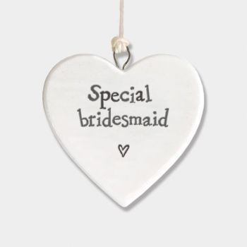 East of India Small Porcelain Heart Hanger - Special Bridesmaid