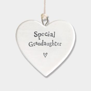 East of India Small Porcelain Heart Hanger - Special Granddaughter