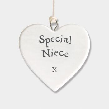 East of India Small Porcelain Heart Hanger - Special Neice