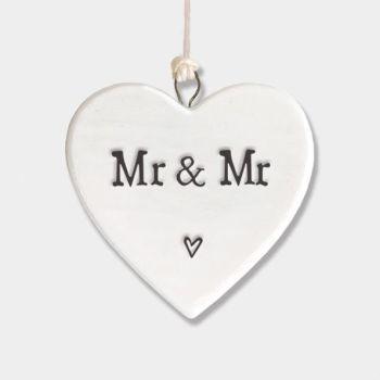 East of India Small Porcelain Heart Hanger - Mr & Mr