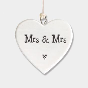 East of India Small Porcelain Heart Hanger - Mrs & Mrs