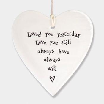 East of India Porcelain Hanging Heart Decoration - Loved You Yesterday
