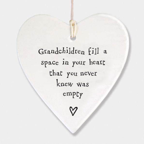 East of India Porcelain Hanging Heart Decoration - Grandchildren
