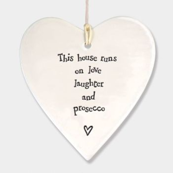 East of India Porcelain Heart Hanging Decoration- This House Runs..