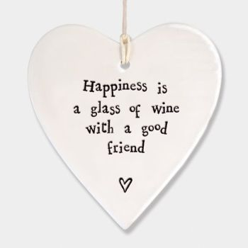 East of India Porcelain Heart Hanging Decoration - Happiness is a Glass of Wine
