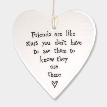 East of India Porcelain Heart Hanging Decoration - Friends are like Stars