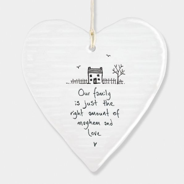 East of India Porcelain Heart Hanging Decoration - Our Family...