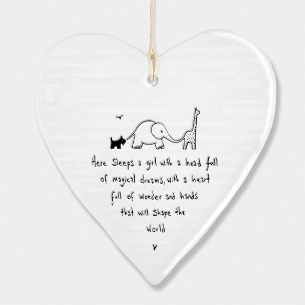 East of India Porcelain Heart Hanging Decoration - Here Sleeps a Girl..