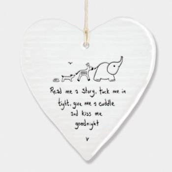 East of India Porcelain Heart Hanging Decoration - Read me a Story...