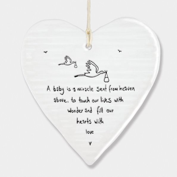 East of India Porcelain Heart Hanging Decoration - A Baby is a Miracle