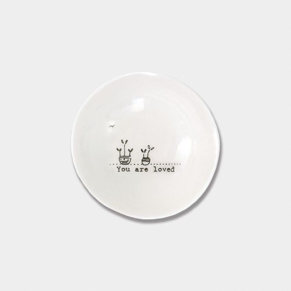 East of India Small Porcelain Wobbly Bowl - You Are Loved