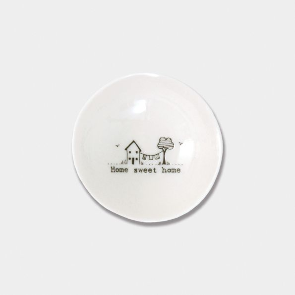East of India Small Porcelain Wobbly Bowl - Home Sweet Home