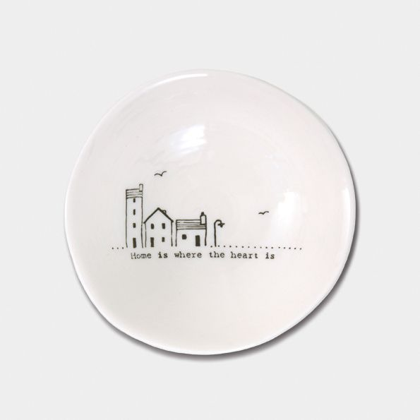 East of India Small Porcelain Wobbly Bowl - Home is Where the Heart Is