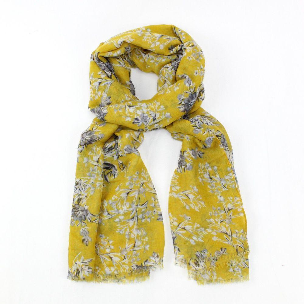 Arella Yellow Flora Design Scarf