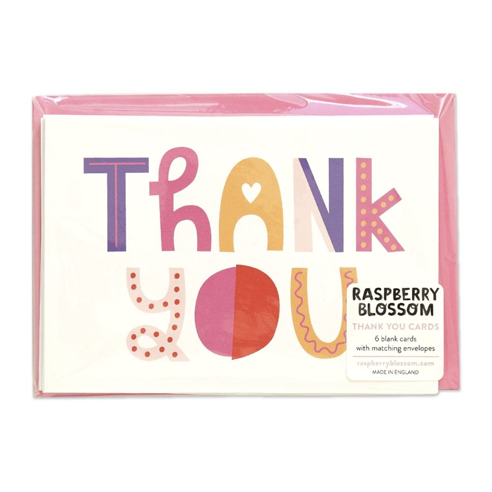 Raspberry Blossom Thank You Cards - Pack of 8