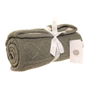Baby Ziggle Knitted Sherpa Baby Blanket - Dark Grey