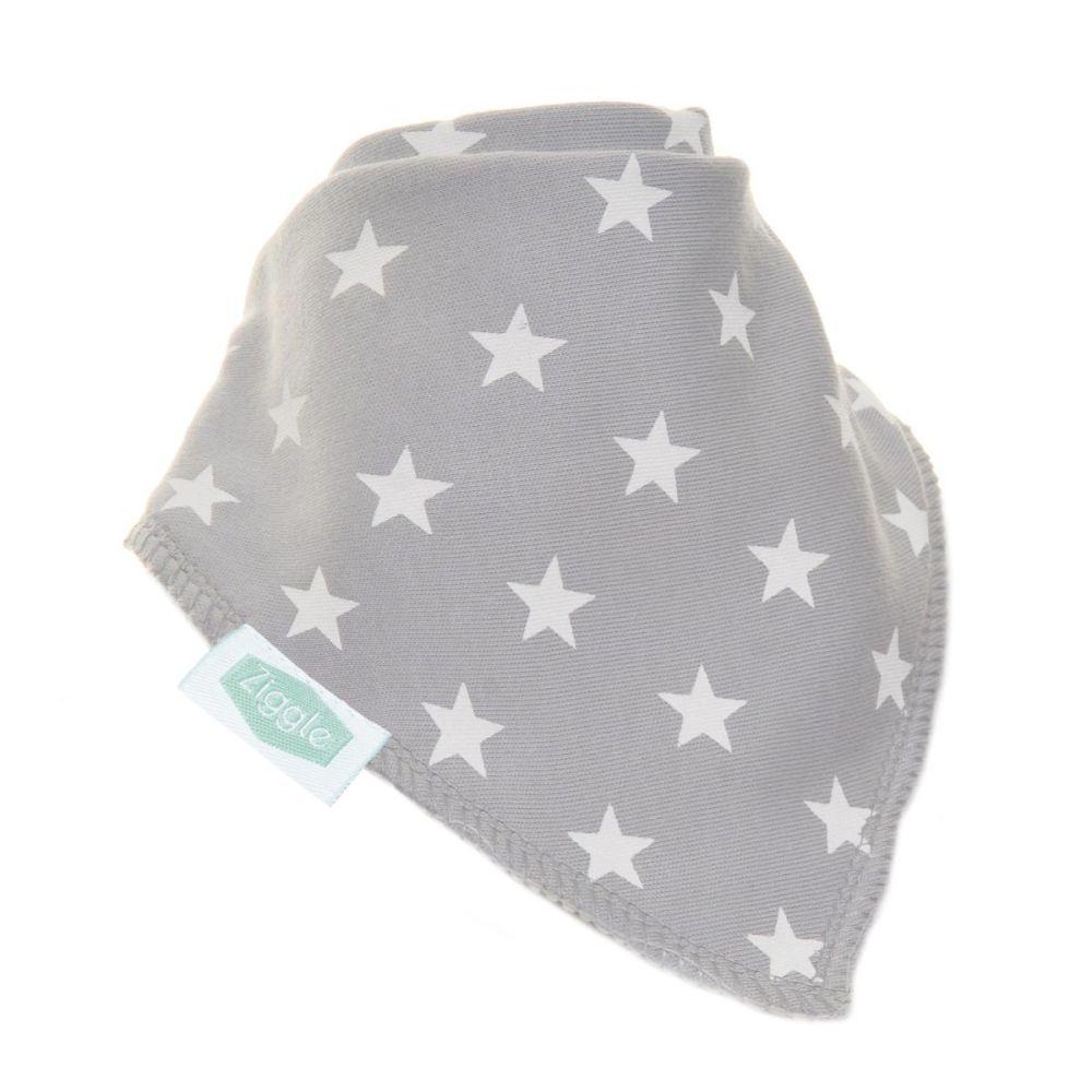 Baby Ziggle Grey with White Stars Cotton Bib