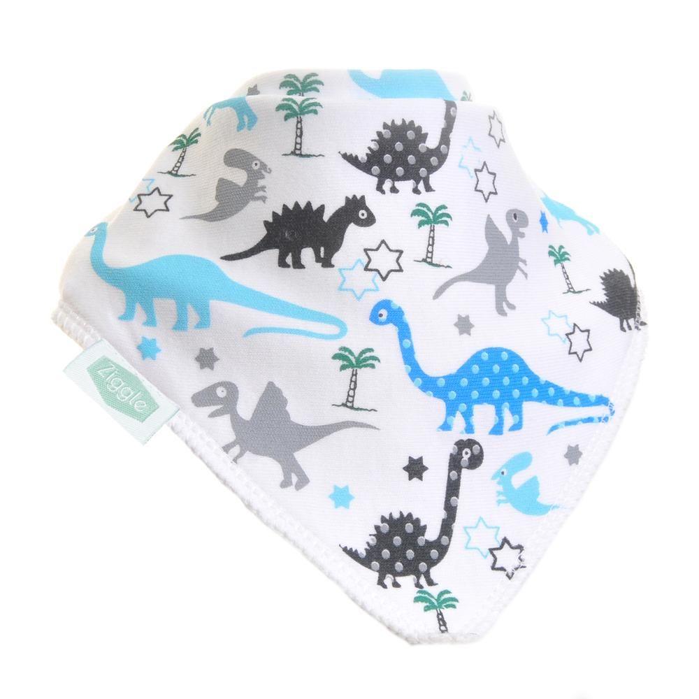 Baby Ziggle Dinosaur Print Cotton Bib